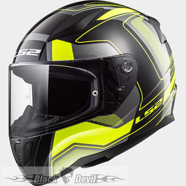 LS2 RAPID CARRERA BLACK HI-VIS YELLOW